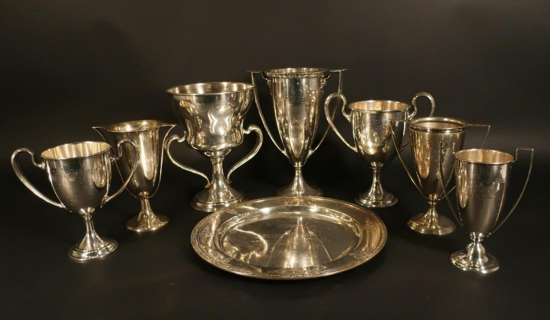 8 Sterling Inscribed Trophies incl Cartier 127 ozt