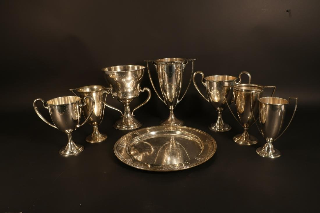 8 Sterling Inscribed Trophies incl Cartier 127 ozt - 2