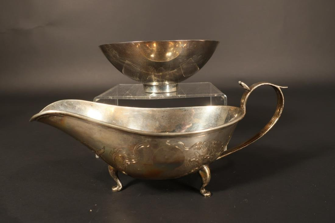 Chinese Silver Sauce Boat & Bowl