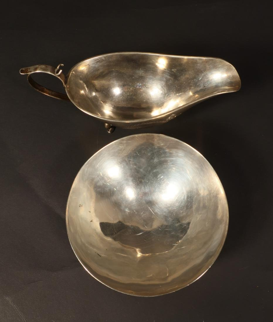 Chinese Silver Sauce Boat & Bowl - 3