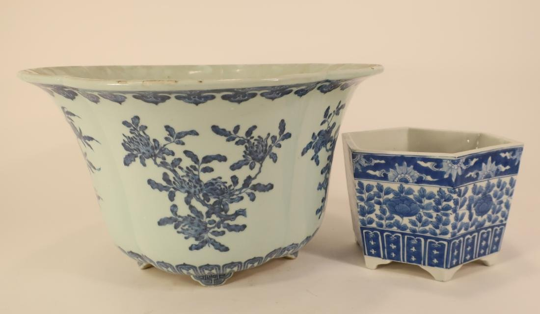2 Chinese Blue and White Porcelain Jardinieres
