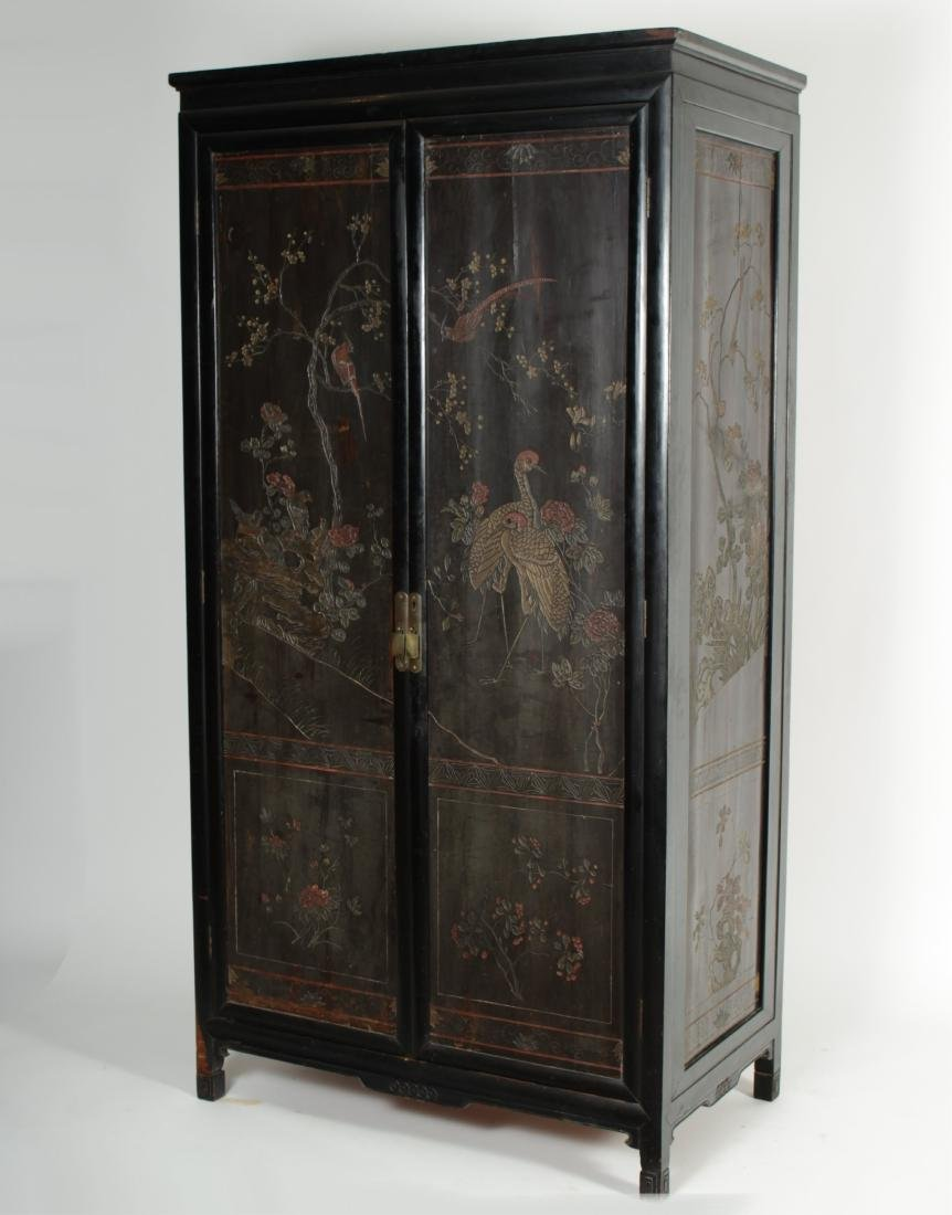 Vintage antique furniture wardrobe walnut armoire Wood Asian Coromandel Lacquer Armoire Liveauctioneers Vintage Armoires Wardrobes For Sale Antique Armoires Wardrobes