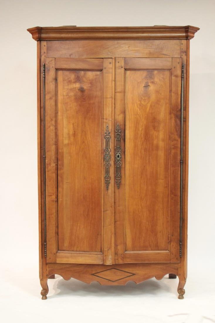 19th c. French Provincial Cherry Armoire Cabinet