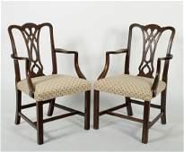 Pair of Vintage George III-Style Open Armchairs