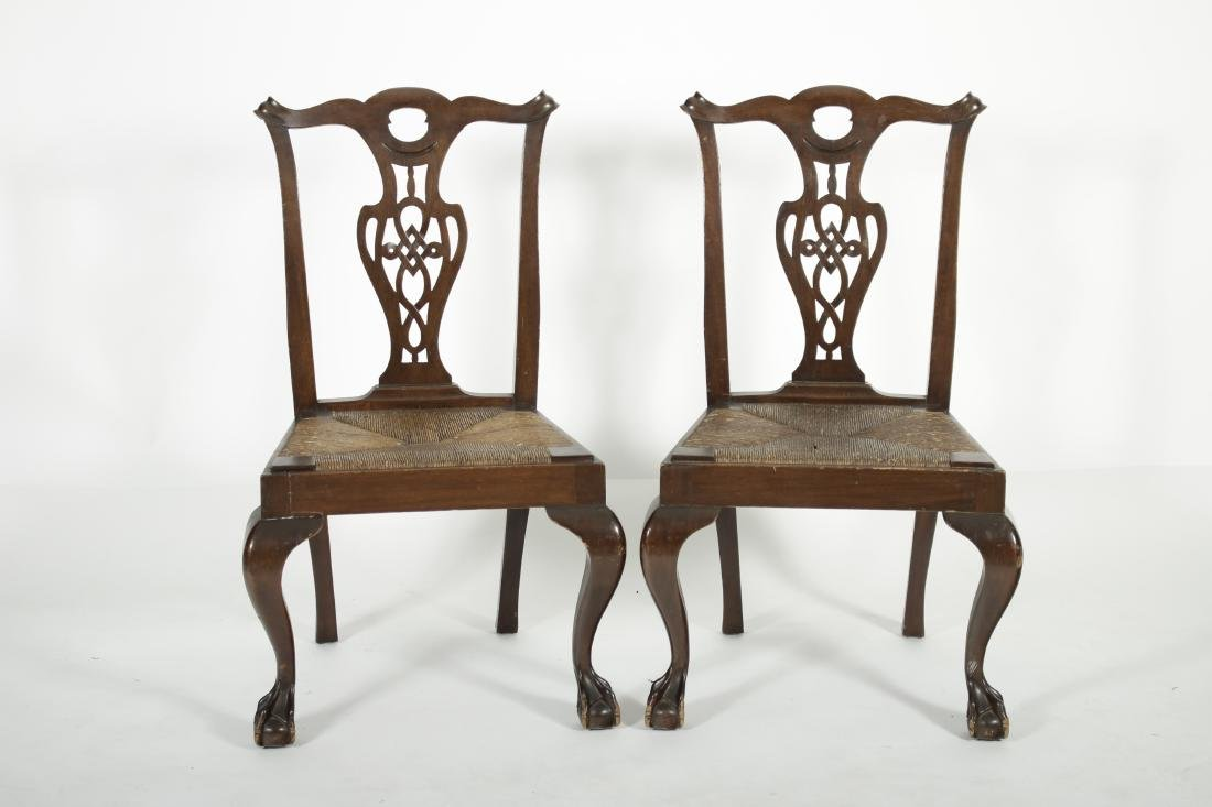 Pair of Mahogany Chippendale Style Side Chairs