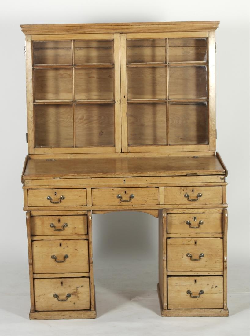 English Pine Secretary Slant Front Desk, 19th C.