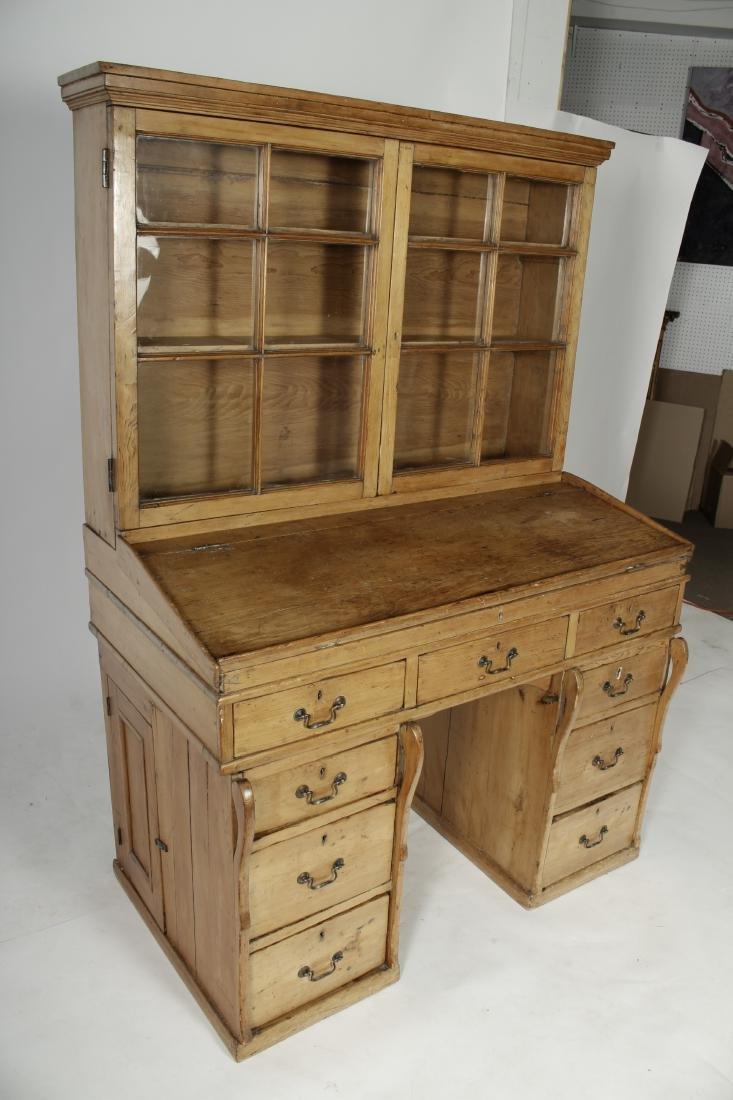 English Pine Secretary Slant Front Desk, 19th C. - 5