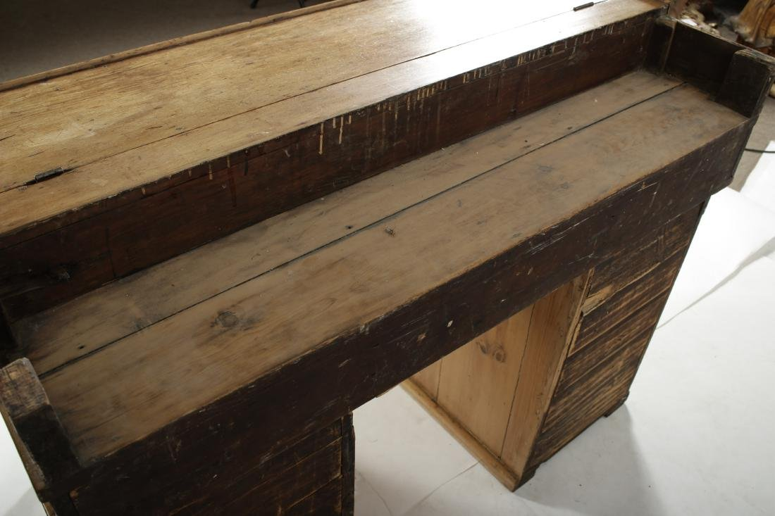 English Pine Secretary Slant Front Desk, 19th C. - 6