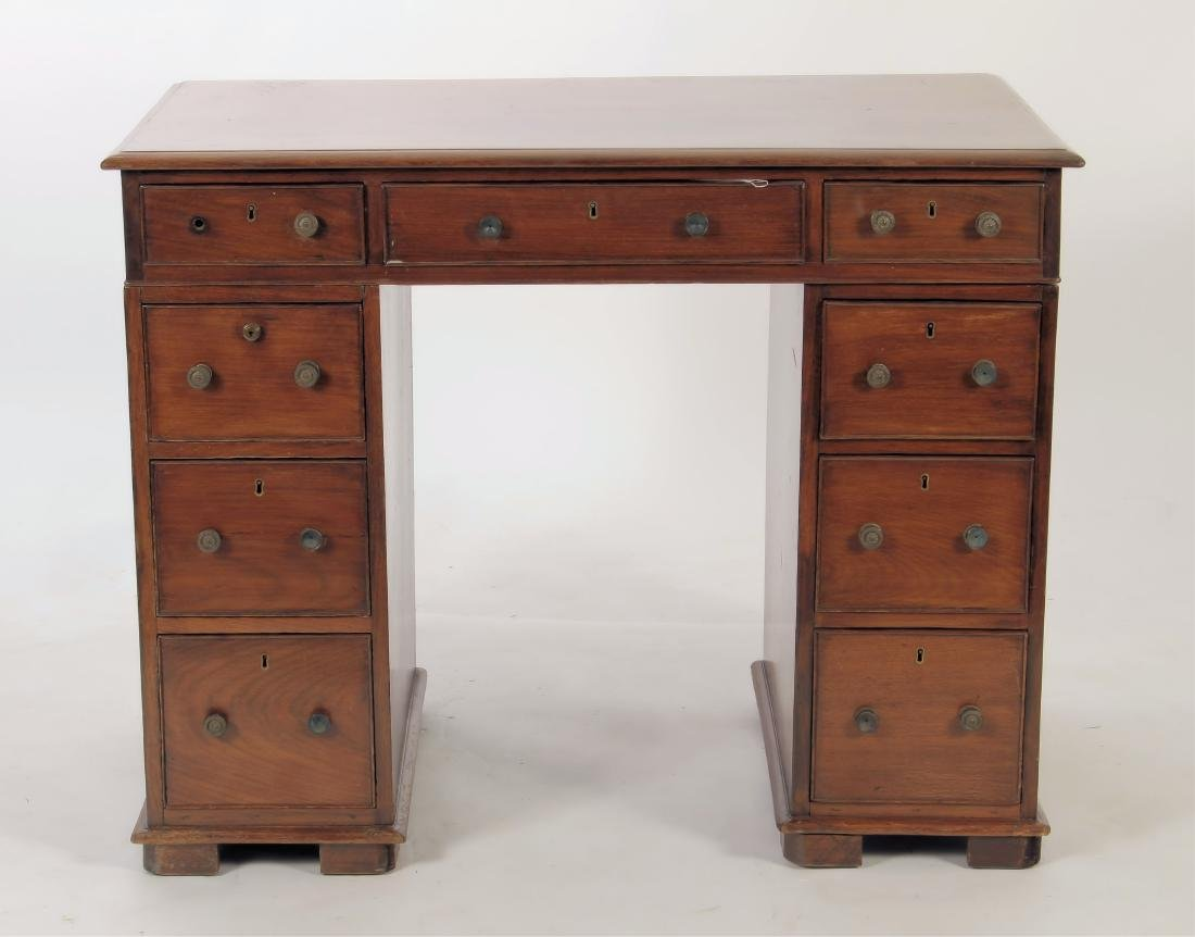 19th C. Rosewood Pedestal Desk