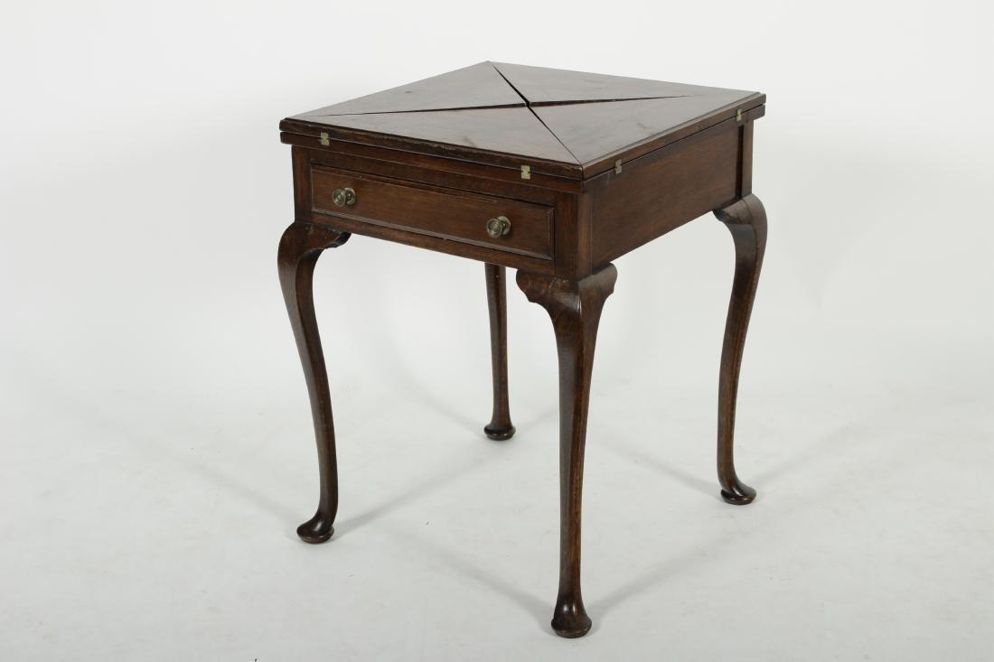 Queen Anne Style Oak Games Table - 3