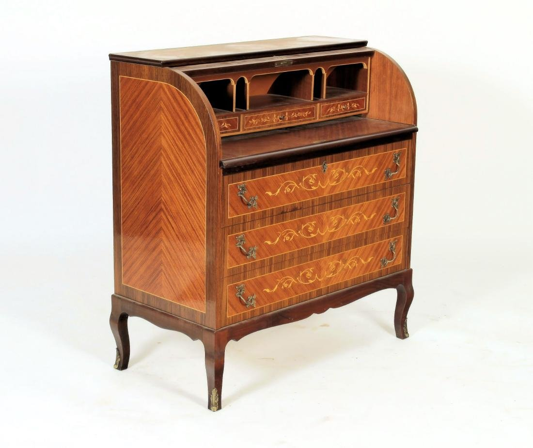 French Style Floral Inlaid Cylinder Writing Desk - 2