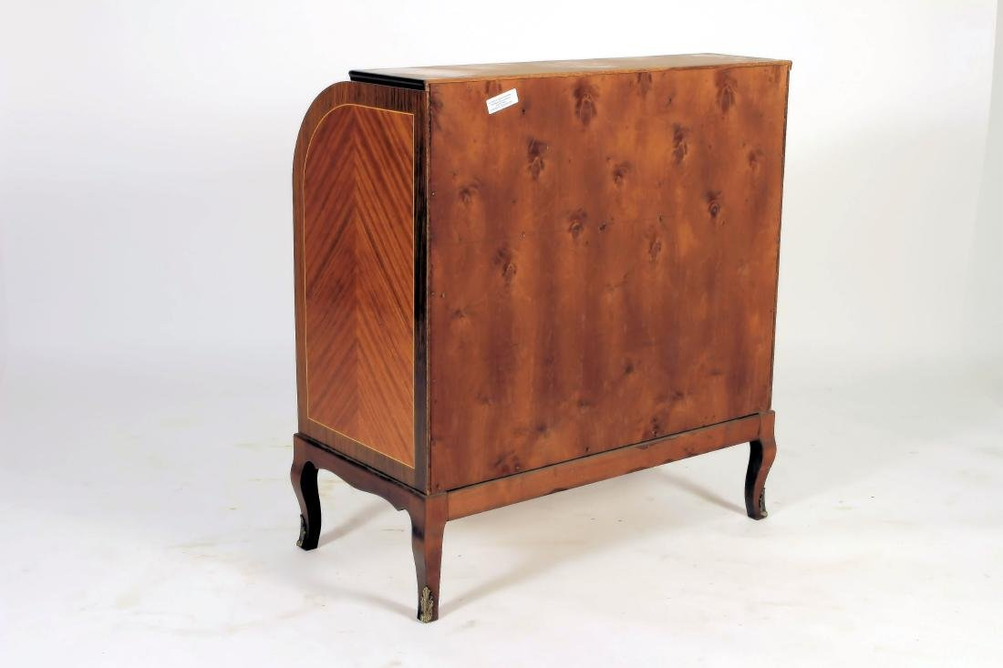 French Style Floral Inlaid Cylinder Writing Desk - 6