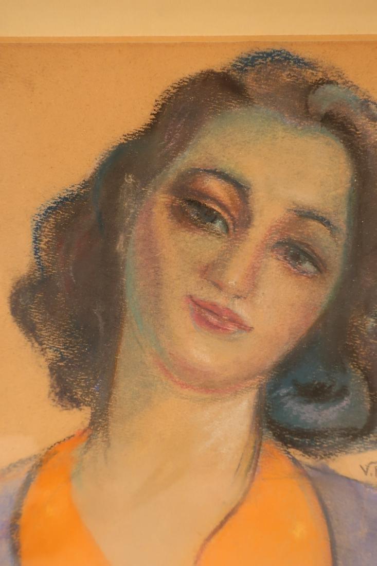 After Victor Brauner, Portrait, pastel on paper - 2