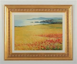 Angelo Romby, It., Poppy Wheat Field, O/B