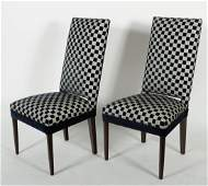 Pair High Back Upholstered Side Chairs