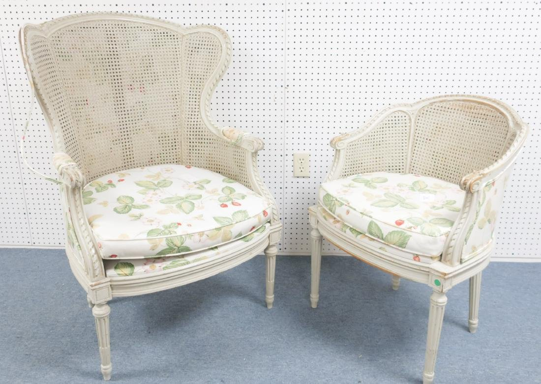 Two Louis XV-Style Gray Painted and Caned Bergeres