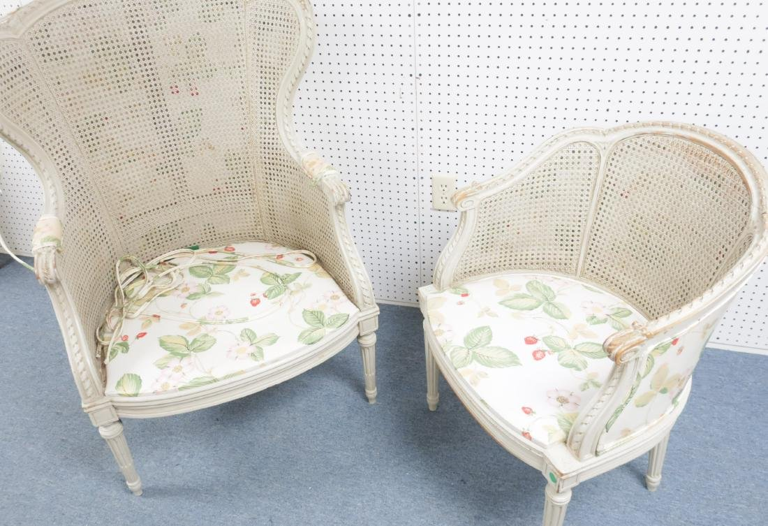 Two Louis XV-Style Gray Painted and Caned Bergeres - 2