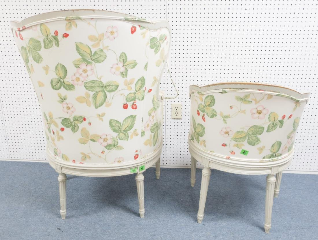 Two Louis XV-Style Gray Painted and Caned Bergeres - 3