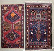2 Caucasian Hand Knotted Wool Area/ Prayer Rugs