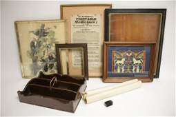 Collectibles: C.W. Wood Tray, Prints, Snuff Box
