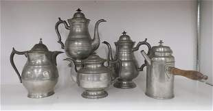 5 Large Antique Pewter Pots