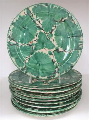 Set of 9 Majolica Dinner Plates