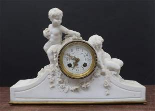 Parian Ware & Ormolu Mounted Mantel Clock