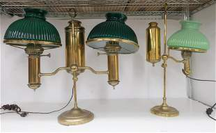 2 Brass Student Lamps Green Glass Shades