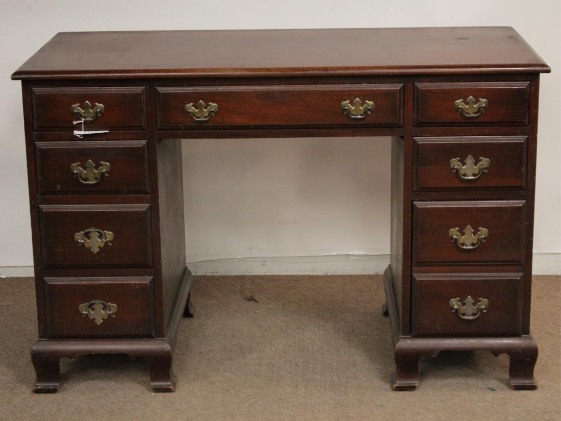 Chippendale Style Mahogany Pedestal Desk