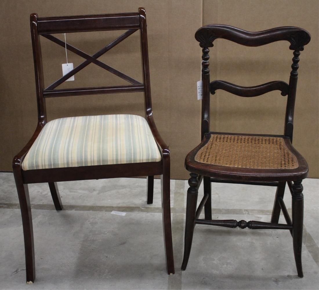 2  Chairs, Victorian Faux Painted Rosewood & Other