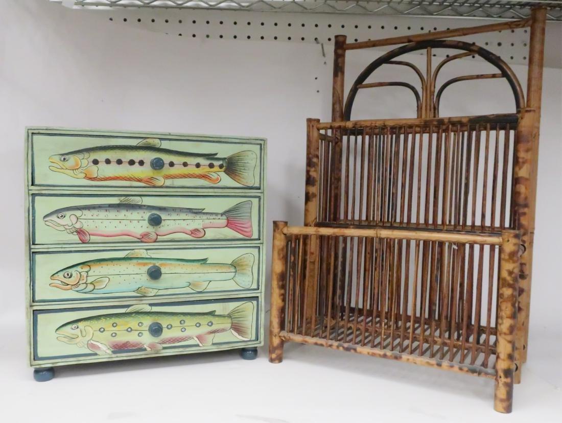 Bamboo Magazine Rack & 4 Drawer Jewlery Cabinet