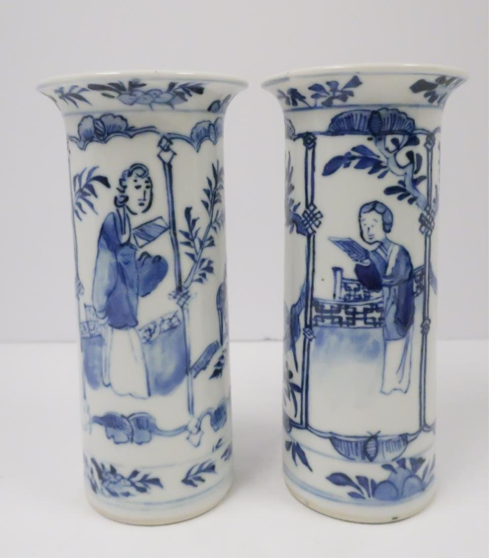 Pr Chinese Blue & White Cylindrical Vases