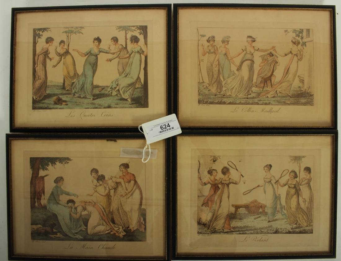 """Four Hand Colored French Engravings """"Le Bon Genre"""""""