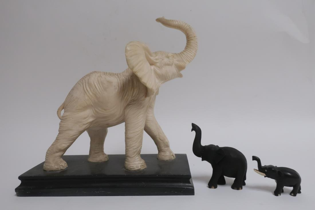 Composition White Elephant & Two Wooden Elephants