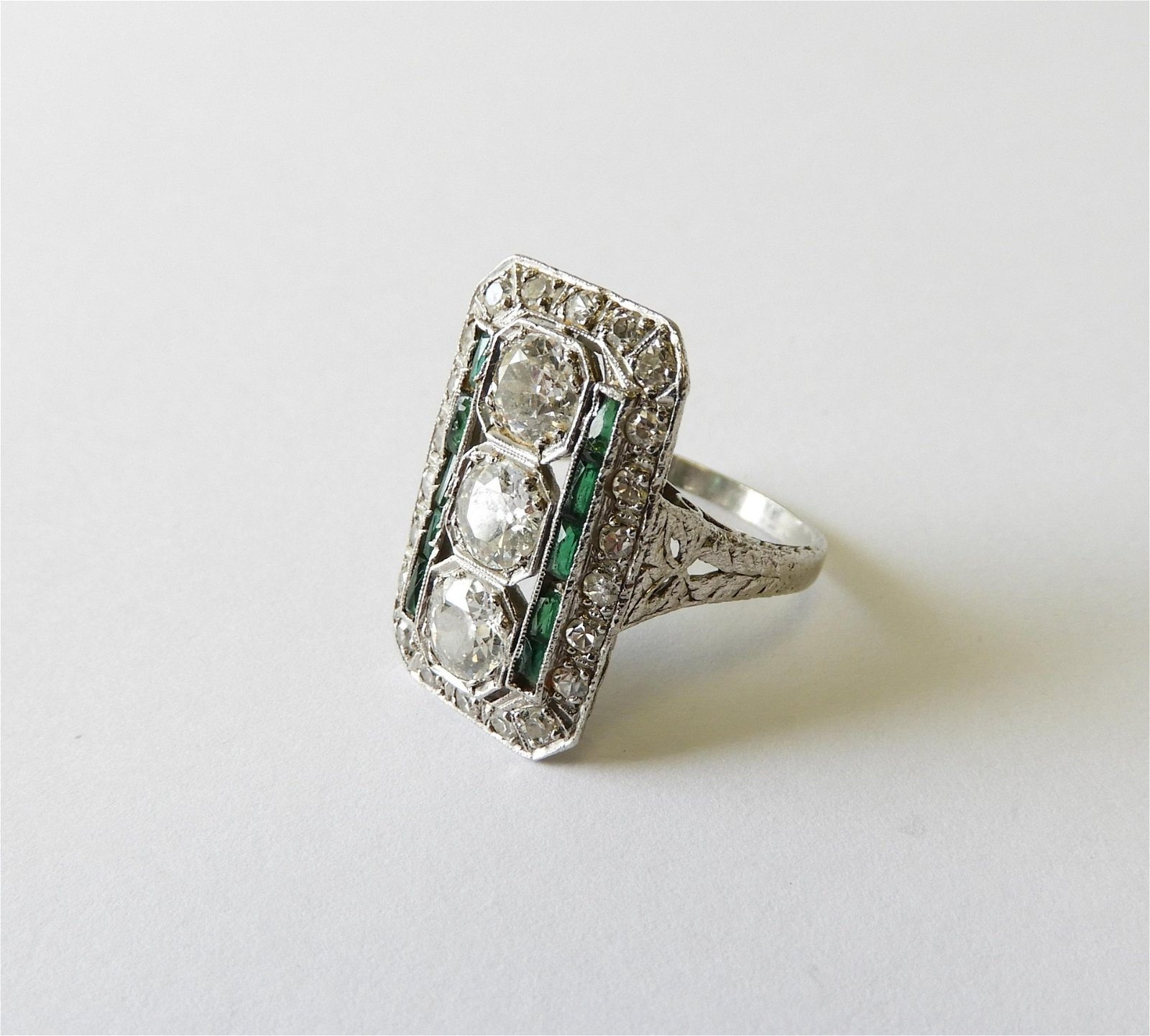 Art Deco Style Diamond & Emerald Cocktail Ring