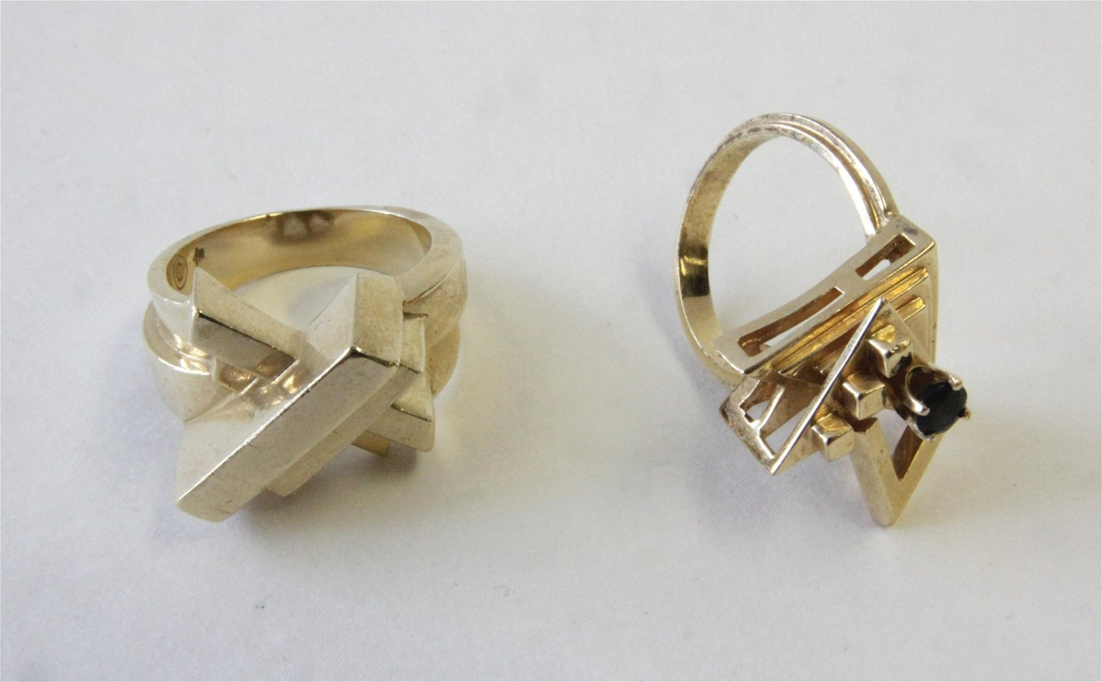 Two Brutalist 14K Yellow Gold Rings