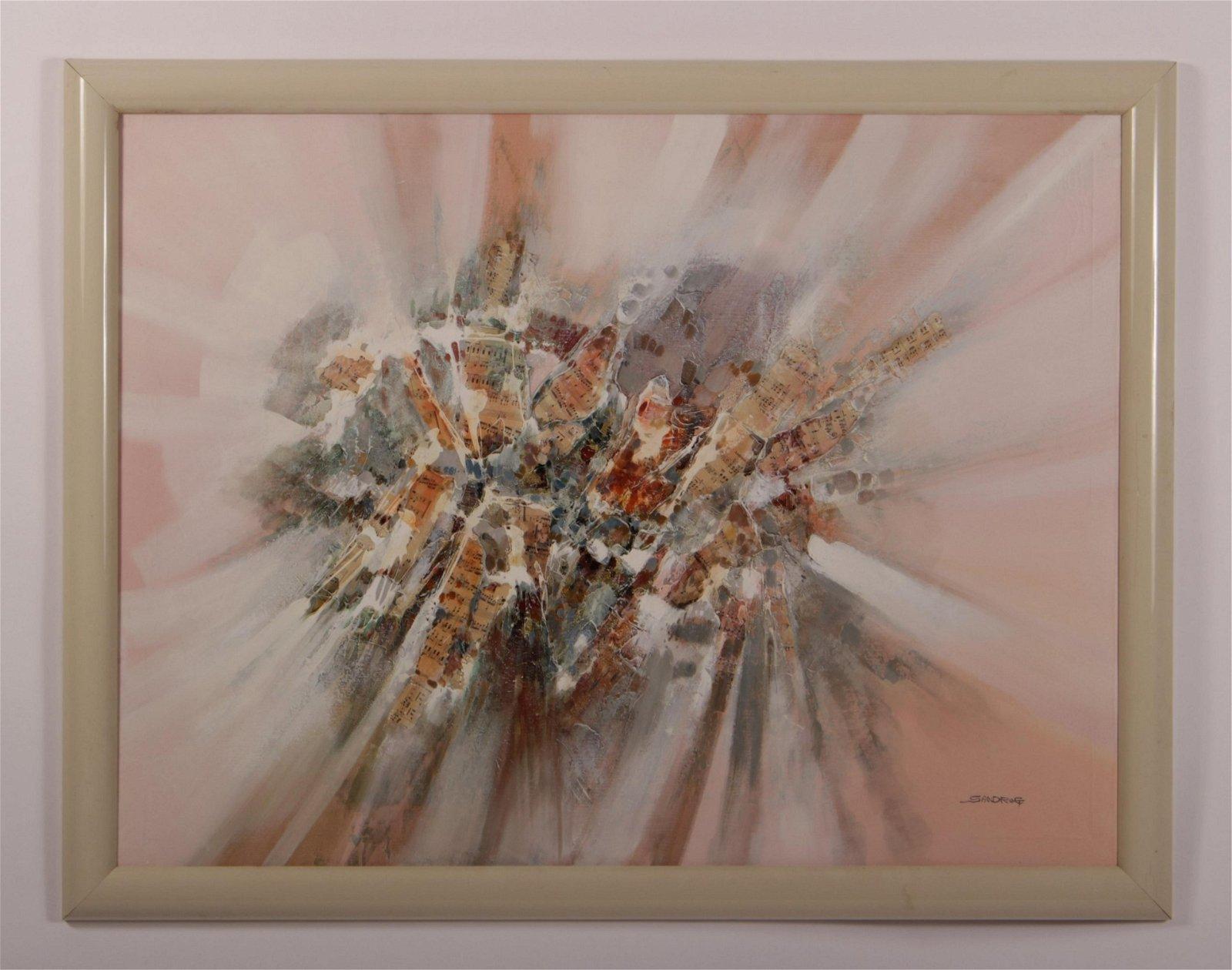 Sandrof 20th C. Abstract Modern Mixed Media