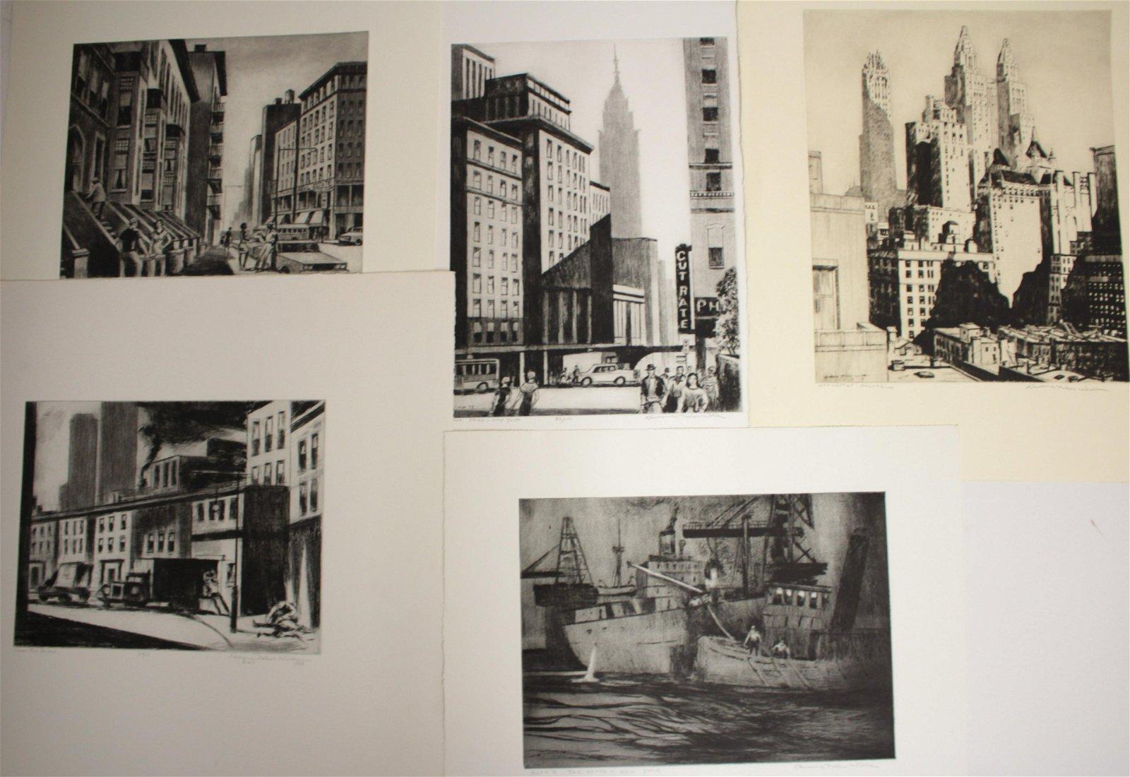 Lawrence N Wilbur, New York City Suite, 5 Etchings