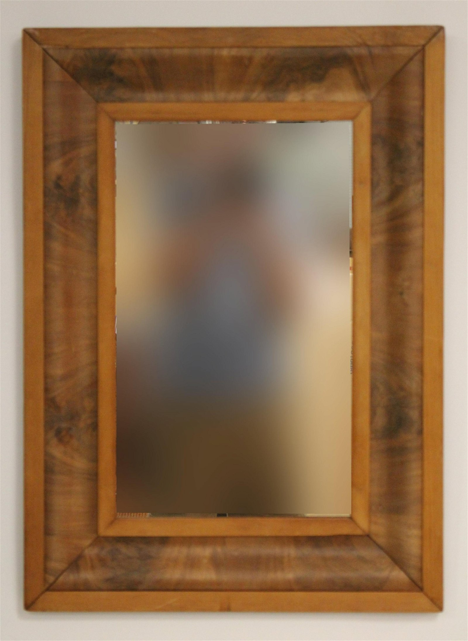 Antique Pine & Figured Mahogany Veneer Ogee Mirror