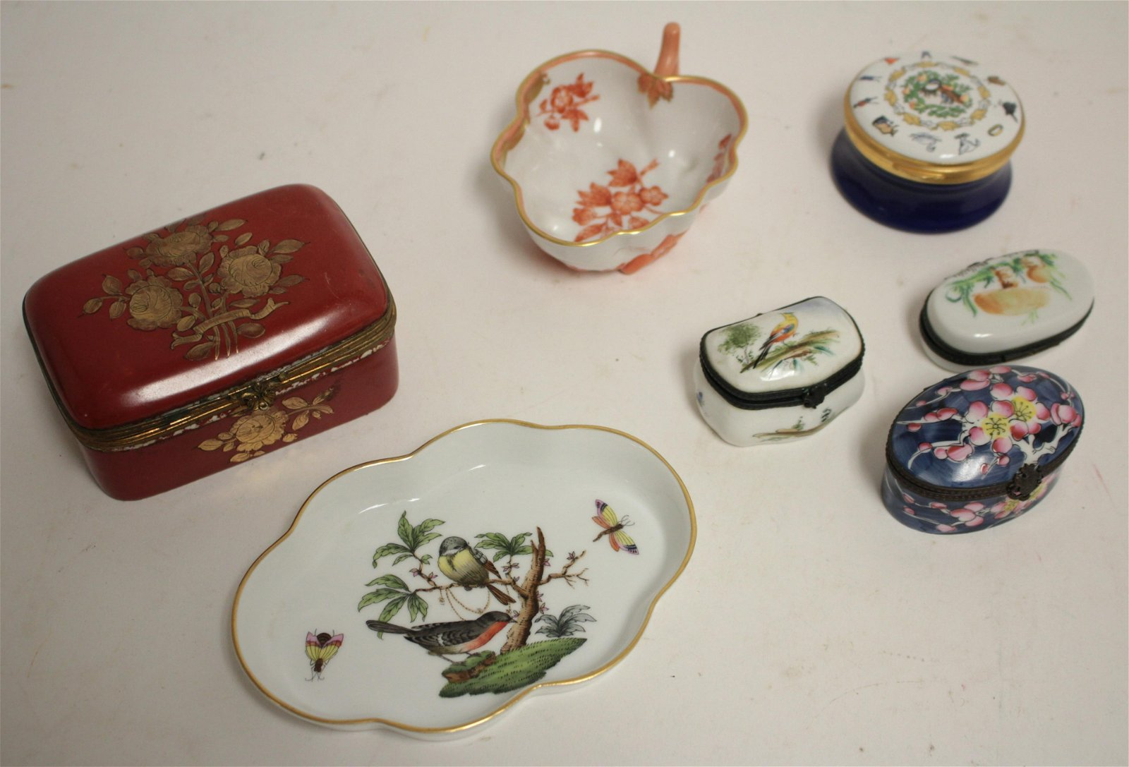 7 Enameled Lidded Boxes, Small Dishes Collectibles