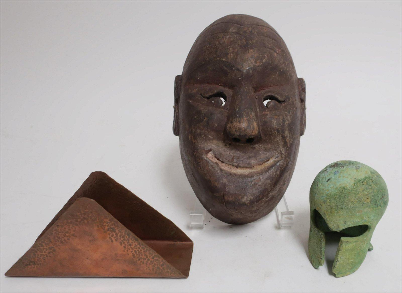 Antique Noh Mask, Small Bronze Spartan Helmet