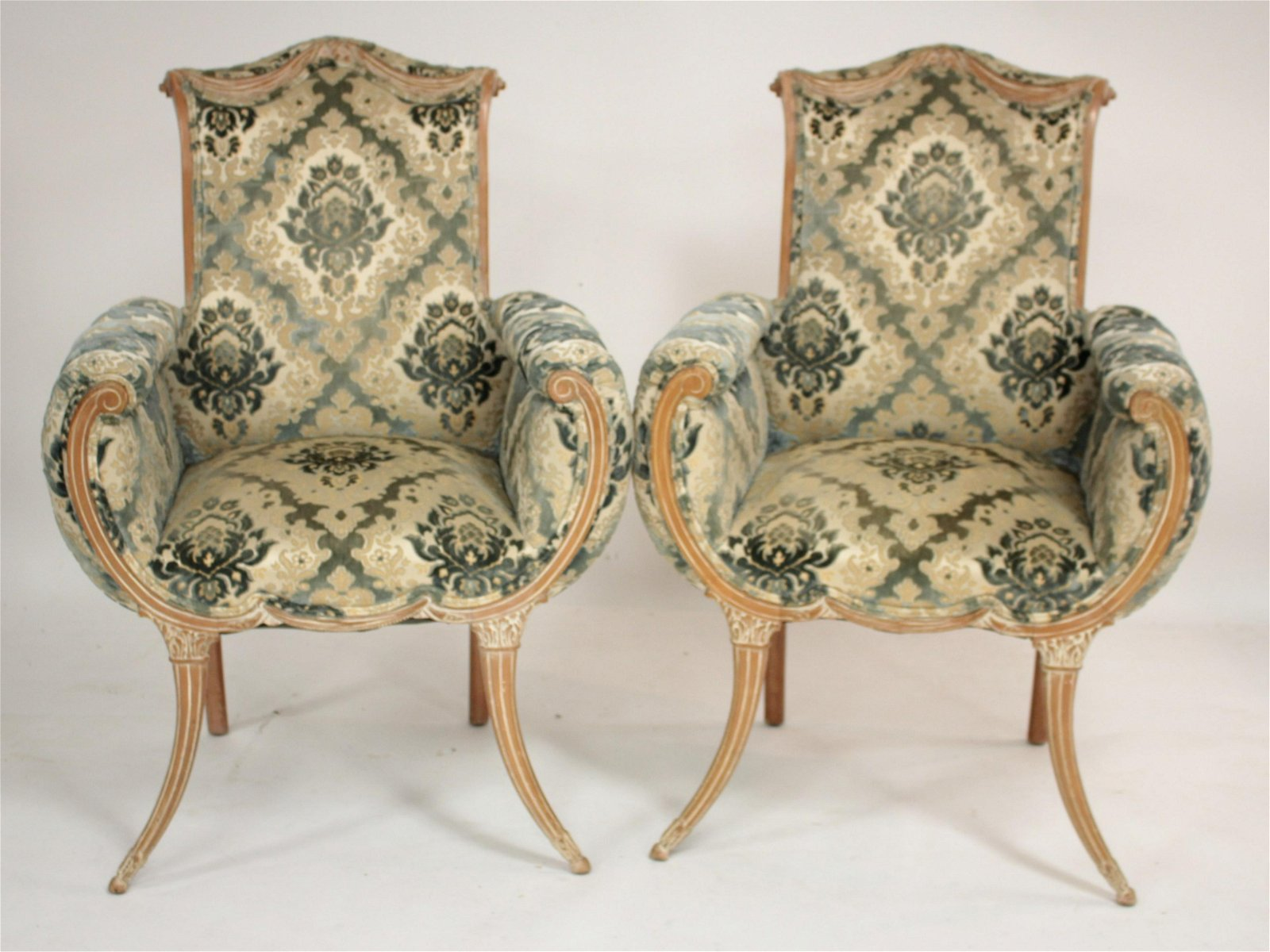 Pr of Hollywood Regency Style Fireside Chairs