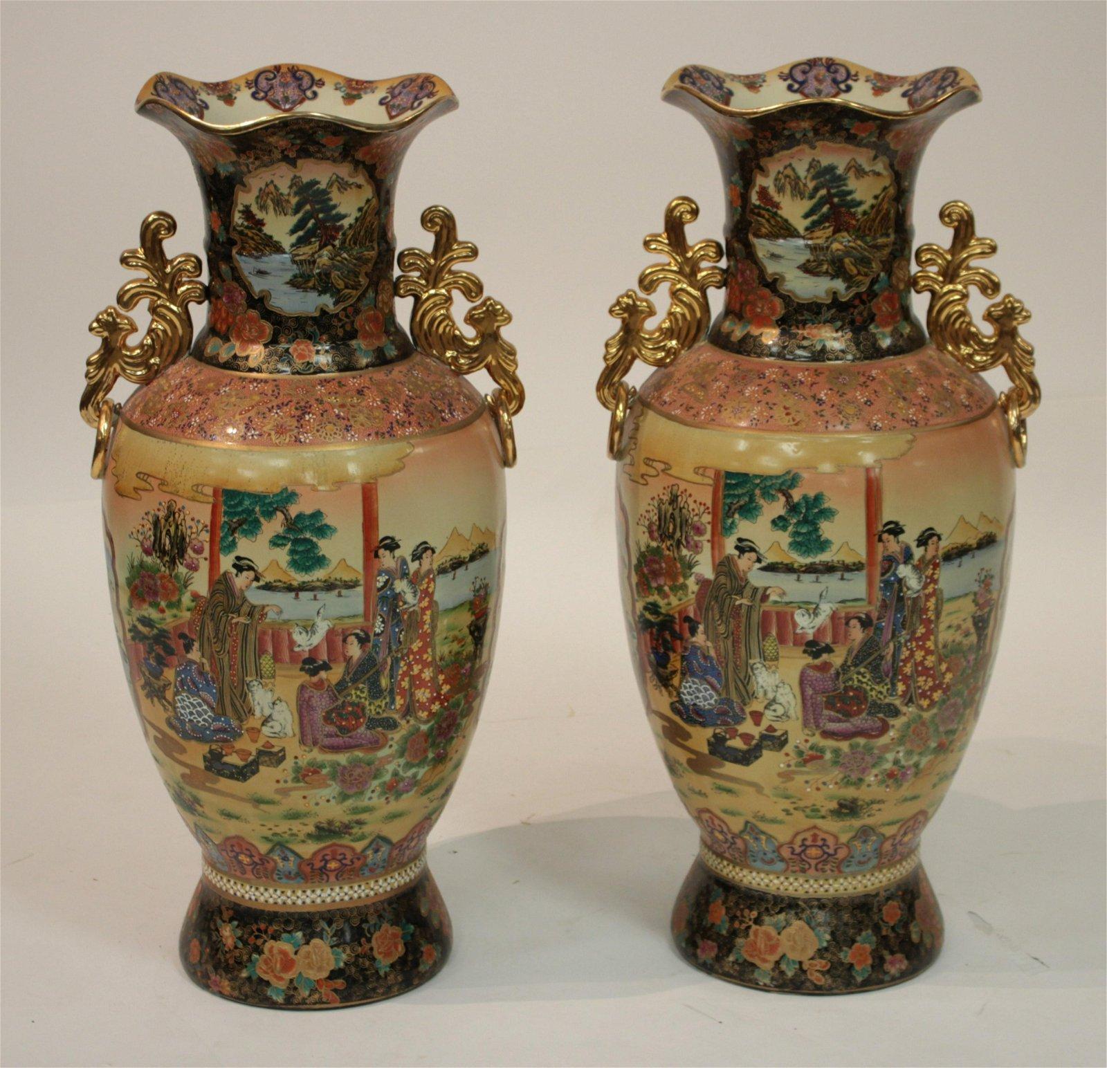 Pr of Satsuma Inspired Tall Porcelain Vases