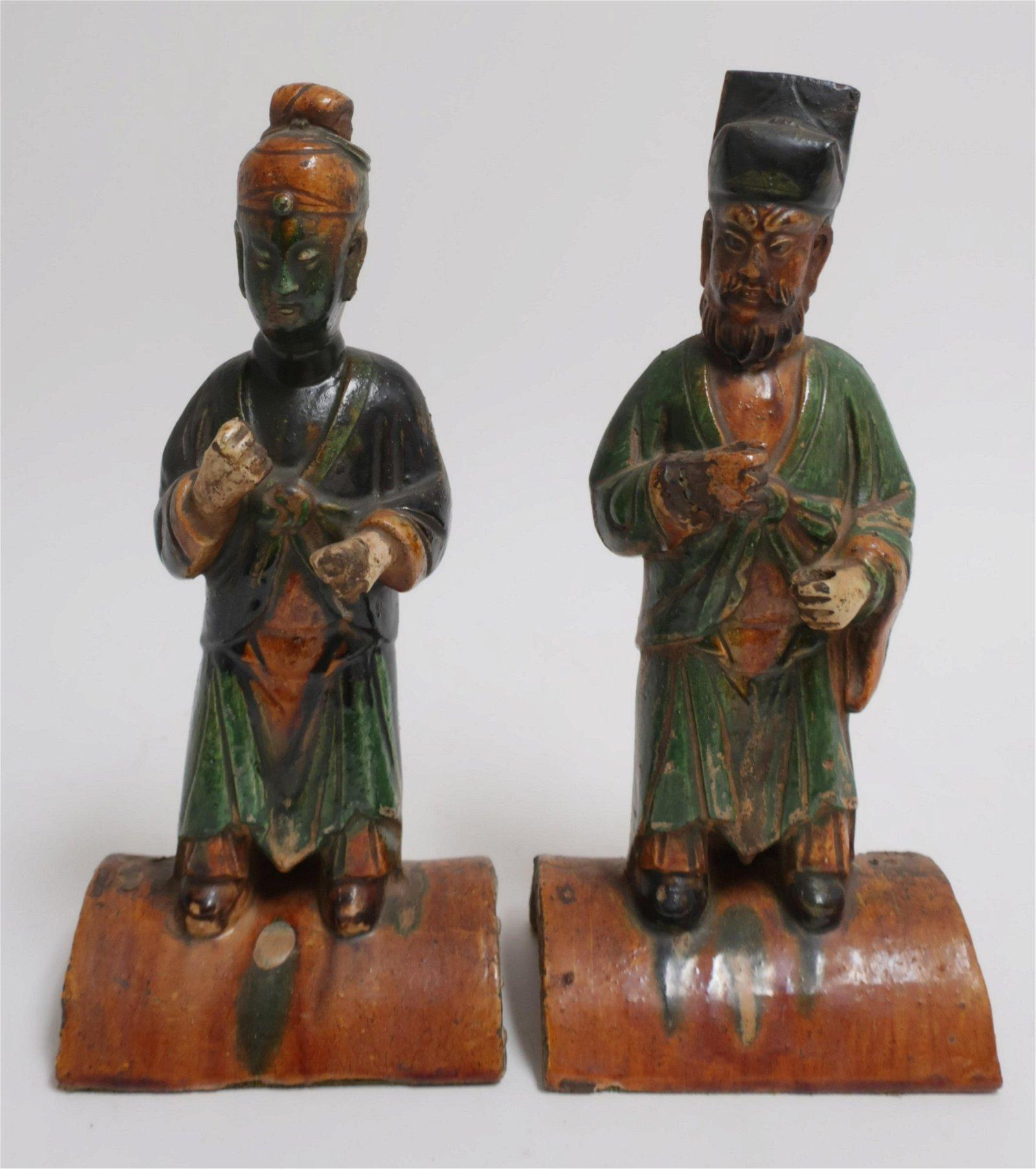 2 Ming Sancai Glazed Pottery Roof Tile Figures