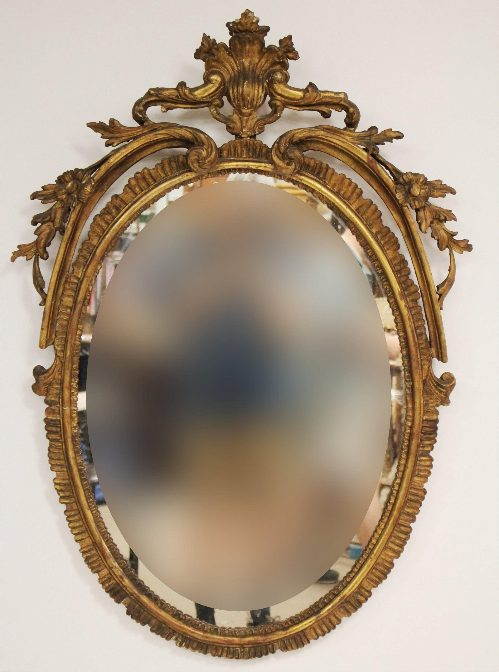 Oval Giltwood Mirror W/ Antique Crest
