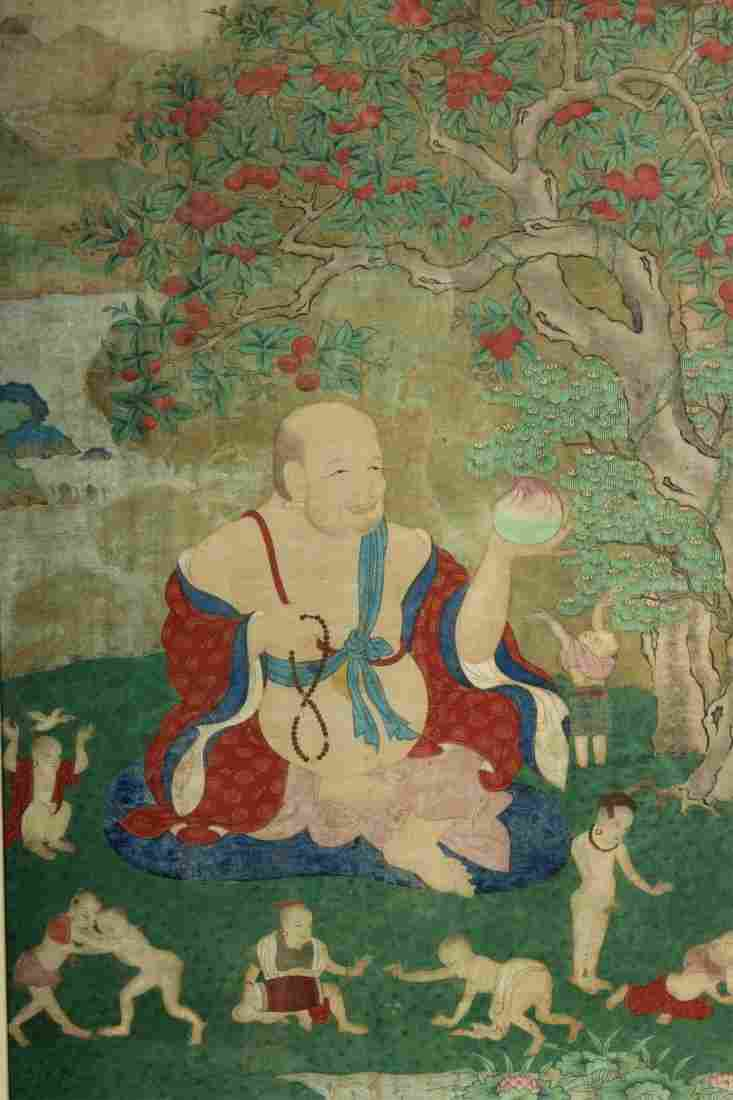 Tibetan Thangka Watercolor On Silk