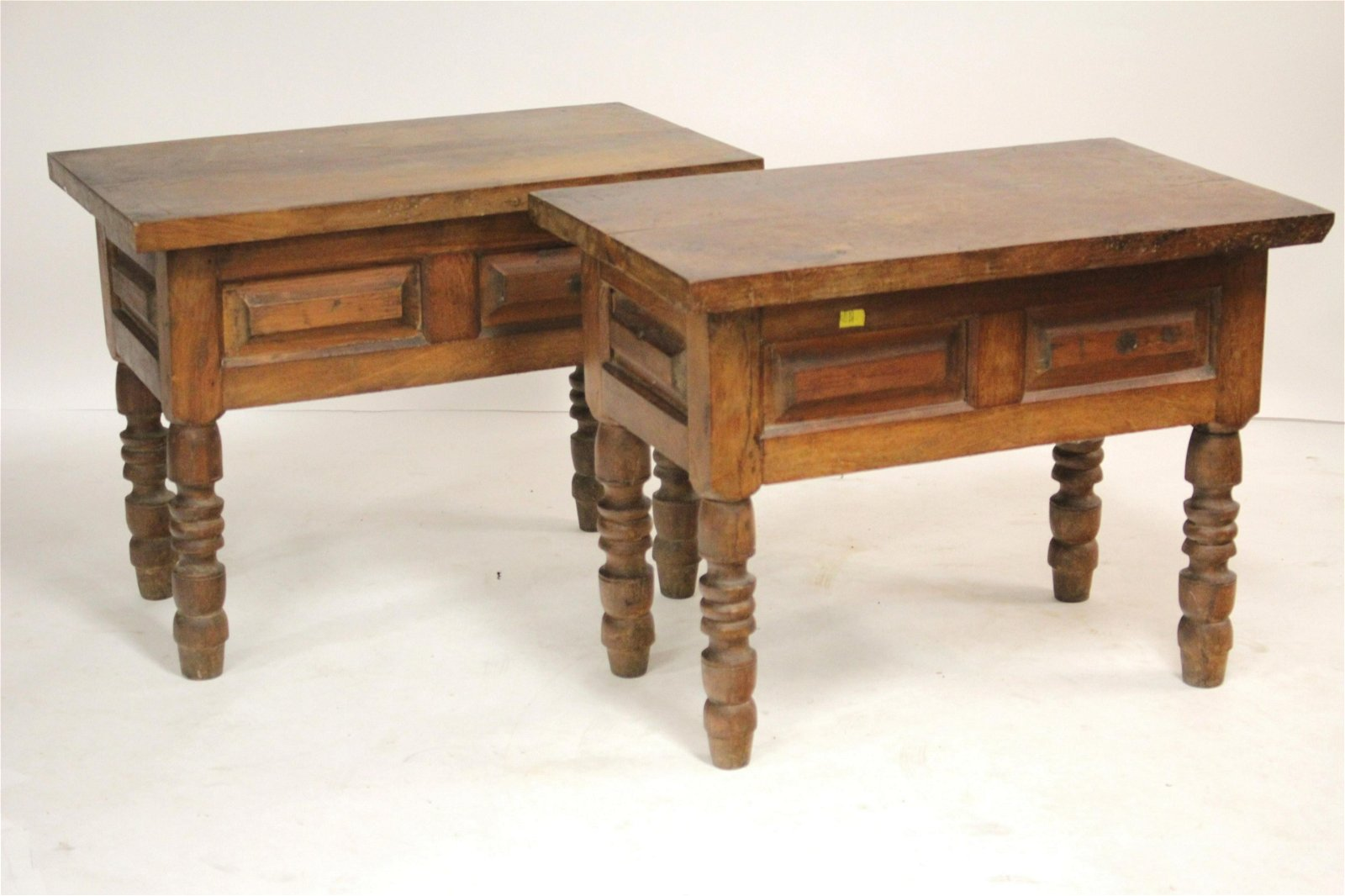Pair of Mexican Monastery Wood Side Tables