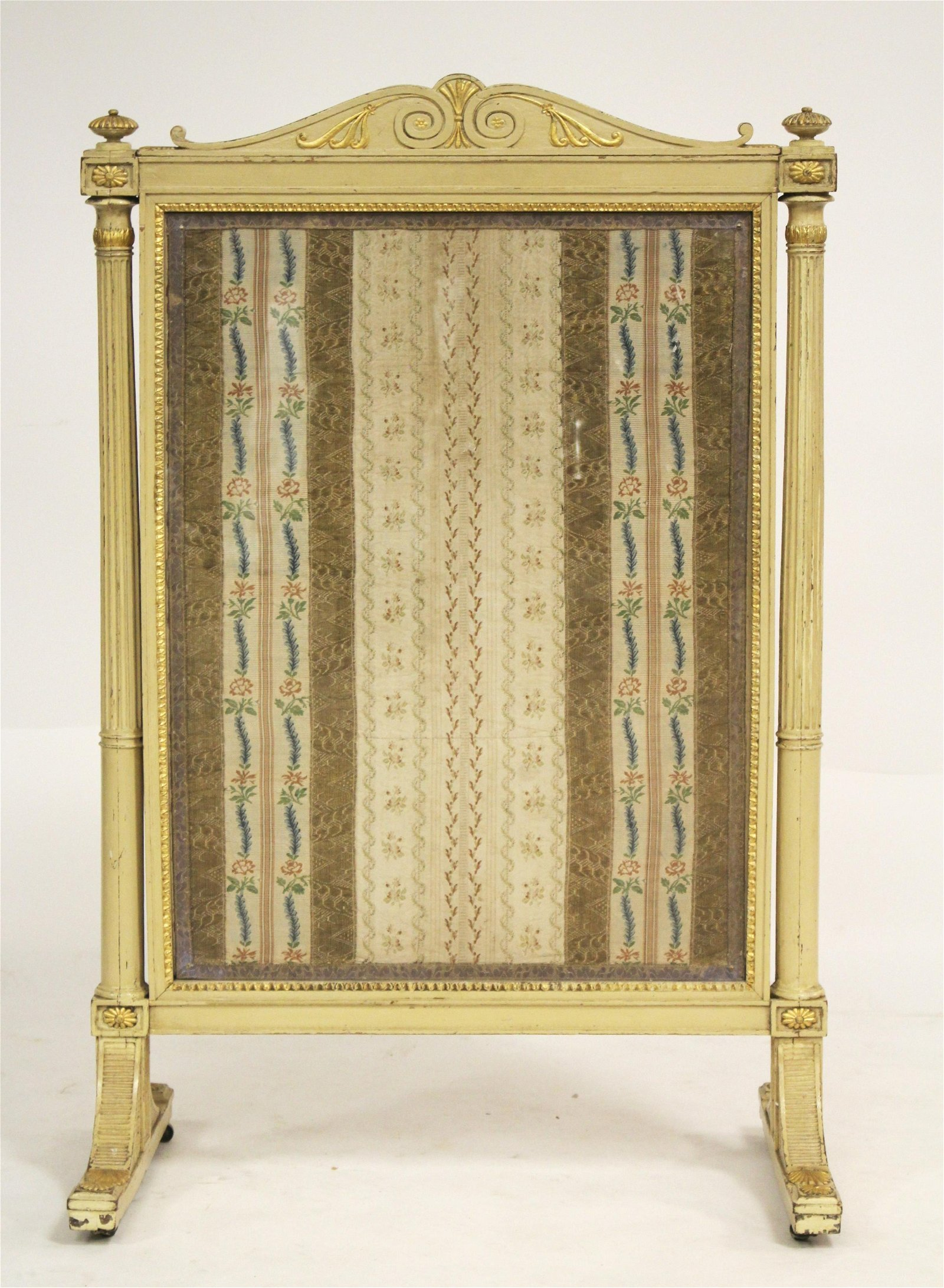 French Carved Painted & Gilded Fire Screen, 19th C