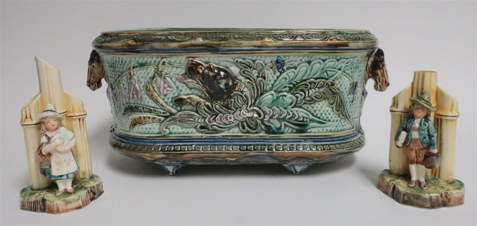Majolica Jardiniere & Pr Spill Vases