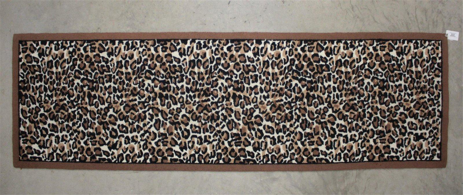 Modern Leopard Pattern Hooked Wool Runner